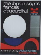 """""""MEUBLES,SIEGES FRANCAIS d'AUJOURD'HUI 1970"""" Affiche orig. entoilée CONSTANTIN"""