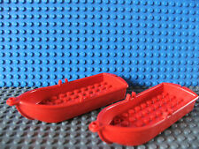 2 x Lego Red Small Boat With Oarlocks Excellent for Pirate or Islanders No 2551