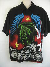Dragonfly Clothing Mens Large Black Motorcycle Skull Button Up Club Shirt
