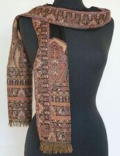 Paisley Wool Jamavar Scarf or Shawl Burgundy & Black Jamawar Wrap Pashmina