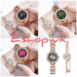 Rose Gold Chronograph Designer Style Ladies Watches Women Crystals Bling Watch