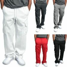 Men's Jogger Heavy Weight Fleece Cargo Pocket Sweat Pants Workout Loose Trousers