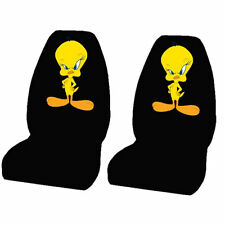 2 PIECE TWEETY BLACK HIGH BACK SEAT COVERS UNIVERSAL SET NEW