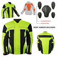 Hi-Viz Black Neon Textile Waterproof Motorcycle Jacket CE Armoured RRP £99.99!