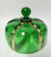 Antique Butter Dish Lid Glass Green X-RAY Gold Riverside Glass EAPG Replacement