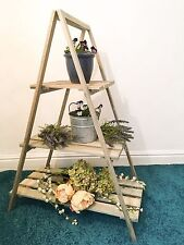 Rustic Wooden 3 Tier Plant Stand Wood Display Step Shop Stall Shabby Chic Shelf