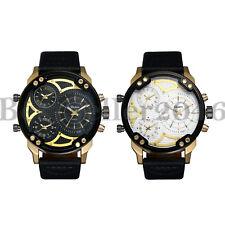 Мужские военные часы мульти часовой пояс большой циферблат кварцевые аналоговые наручные часы спортивные