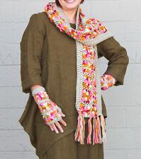 NIRVANNA DESIGNS   SCARF  Floral Hand-Crocheted Wool  GREY MULTI
