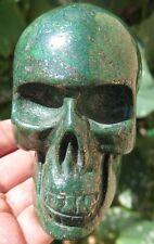 Big 1LB 6.6OZ Natural Green Unakite&Pyrite Crystal Carving Art Skull