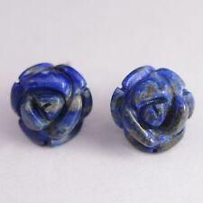 Boucles d'oreilles fleur en Lapis lazuli monture argent 925