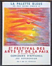 La Palette Bleue litho poster '64 2nd Festival of Arts & Peace, St Ouen INV 2768