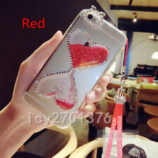 Bling Glitter Quicksand Hourglass Soft Back Phone Dynamic Cover Case & strap A