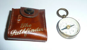 The Pathfinder Leather Cased Vintage Small Brass Round Compass - Southport
