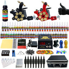 Complete 2 Tattoo Machine Gun Kit with Carry Case Digital Power Supply Ink TK253