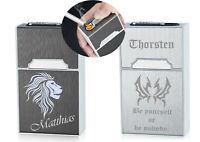 Zigarettenetui mit Feuerzeug + Gravur nach Wunsch + USB Kabel Box, Etui 2 Farben