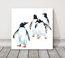 penguins watercolour birds white background canvas print wall art