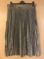 Silver Pleated Velvet Midi Skirt Size 16