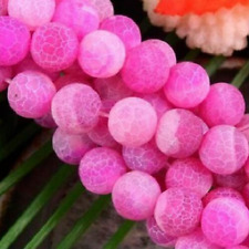 """8mm Pink Dream Fire Dragon Veins Agate Loose Beads 15"""""""