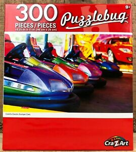 "NEW Puzzlebug ""Colorful Electric Bumper Cars"" 300 Piece Jigsaw Puzzle - Carnival"
