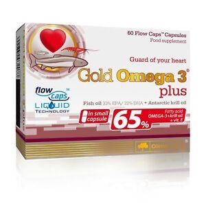OLIMP Gold Omega 3 Plus 60 Capsules 65% FISH OIL ANTARCTIC KRILL OIL EPA DHA