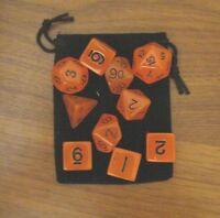 New 16mm GLOW-IN-THE-DARK ORANGE rpg d&d Dice Set 7+3d6=10 polyhedral die + bag