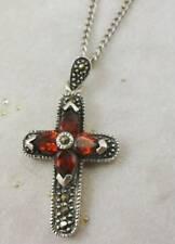 Kreuz Anhänger mit Kette in 925 Silber mit Granate