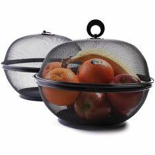 """2 Pack 10"""" Black Round Mesh Fruit Basket Vegetable Fruit Bowl Holder with Lid"""