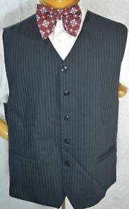 Men's Black w BLUE PINSTRIPE Vest Waistcoat 48 Gatsby Bachrach Italy