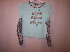 Knitworks Girls 6X Light Aqua Top with detachable sleeves~Adorable ~NWOT