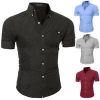 Mens  Botton Down Casual Shirt Short Sleeve Hawaiian Shirts Slim Fit Shirt