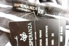 Esperanza Women Plus Size 1x 2x 3x Gray White Striped Tee T Shirt Top Blouse