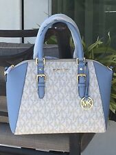 MICHAEL KORS CIARA LARGE ZIP SATCHEL BAG TOTE VANILLA BLUE MK SIGNATURE $448