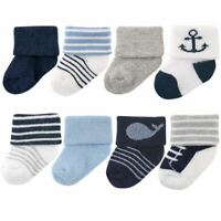 Luvable Friends Newborn Socks, 8-Pack, Nautical