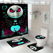 4PCS Moana Shower Curtain Bathroom Rug Set Thick Bath Mat Non-Slip Lid Cover