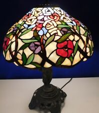 Vintage Tiffany Style Stained Leaded Glass Shade W/Metal Cherub Boy Table Lamp
