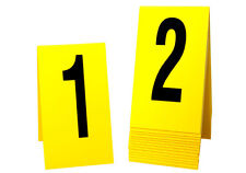 Large Crime Scene Markers 1-15, Yellow Plastic- Tent Style, Free Shipping