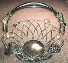 Vintage Godinger 7.5 Fruit Bread Basket Bowl Silver w Handle unpolished w label