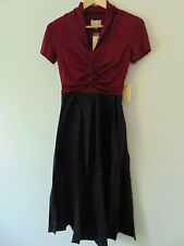 Lindy Bop Elsa Black and Burg Fit and Flare Swing Dress Size 8 New With Tags