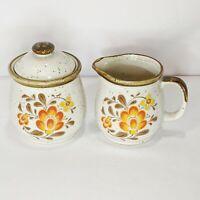 Vintage Stoneware Sugar Bowl Creamer Set Brown Orange Fall Japan