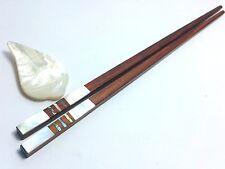 Set Rose Wood Chopsticks Wooden With Mother of Pearl Chopsticks Rest 9''
