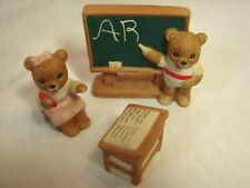 Soo Sweet Homco 1409 Bears in School Students & Desk Bear Figurines