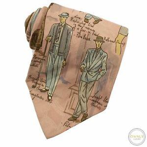 VINTAGE Polo Ralph Lauren Pink 100% Silk Menswear Fashion Handmade MiUSA Tie