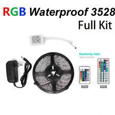 Waterproof 5M 3528 RGB 300 LED Strip light & 24/44 Key Remote & 12V Supply Power