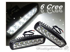 "Pair 6"" Inches Cree LED Universal Fit Fog Driving Light Bar ATV Bike Jeep FLOOD"