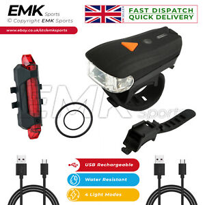 Headlight & Tail Light Set USB Rechargeable Super Bright Waterproof Bike Light
