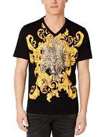 INC Mens T-Shirt Yellow Black Size XS V-Neck Leopard Legion Print Tee $29 285