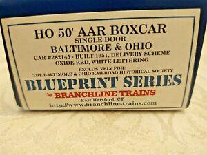 Branch Line Trains, Blueprint Series, HO 50Ft AAR Boxcar B&O #282145 New Kit