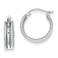 925 Sterling Silver Rhodium Plated Textured & Polished Hinged Post Hoop Earrings