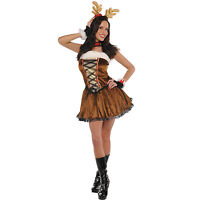 New Sexy Christmas Reindeer Rudolf Miss Vixen Fancy Dress Ladies Womens Outfit