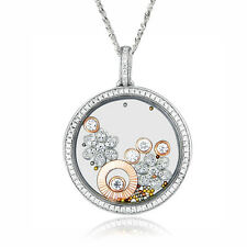 De Buman 16.11ctw CZ and Crystal Two-tone 925 Silver Eternity Necklace